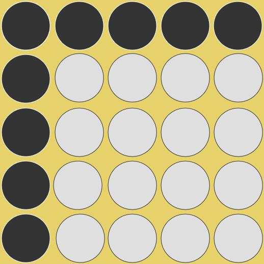 Quadratzahlen, beispielhafte Darstellung der Quadratzahl von 5